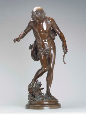 A FRENCH PATINATED BRONZE FIGU
