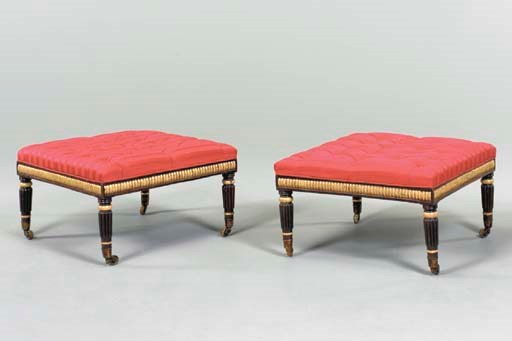 A PAIR OF REGENCY EBONIZED AND