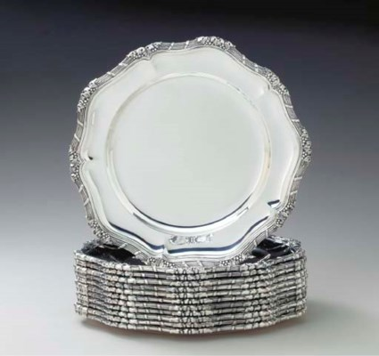 A SET OF TWELVE FRENCH SILVER