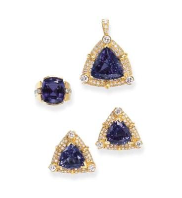 A SET OF TANZANITE AND DIAMOND