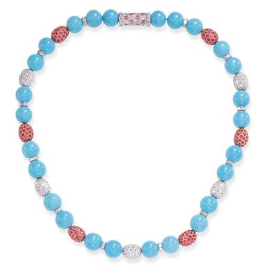 A TURQUOISE, DIAMOND AND PINK