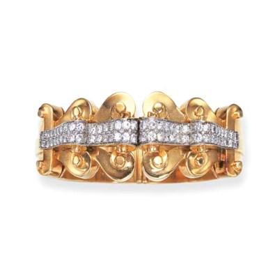A RETRO GOLD AND DIAMOND BANGL