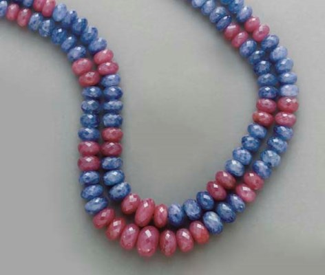 A TWO-STRAND SAPPHIRE, RUBY AN