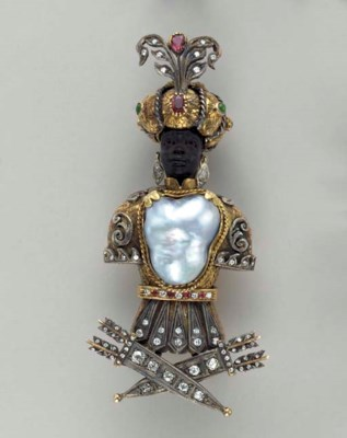 A BAROQUE PEARL, DIAMOND, RUBY