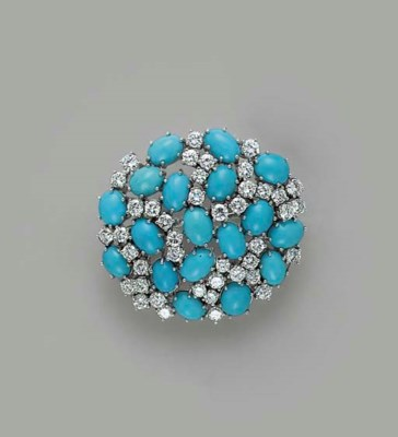 A TURQUOISE, DIAMOND AND WHITE