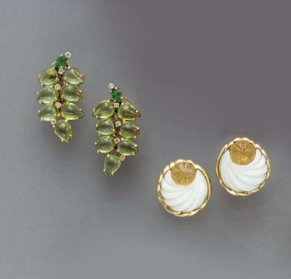 A PAIR OF GEM-SET AND 18K GOLD