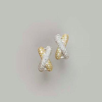 A PAIR OF DIAMOND AND 18K BI-C