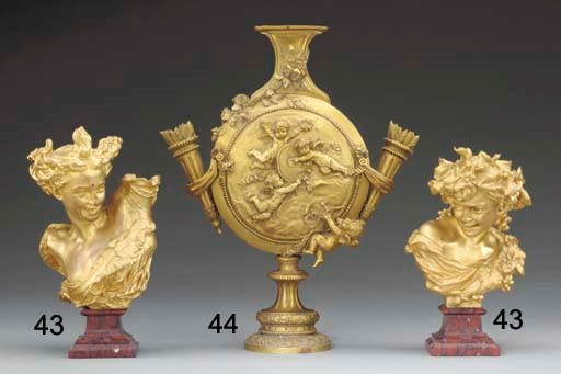 A French ormolu flask-shaped v