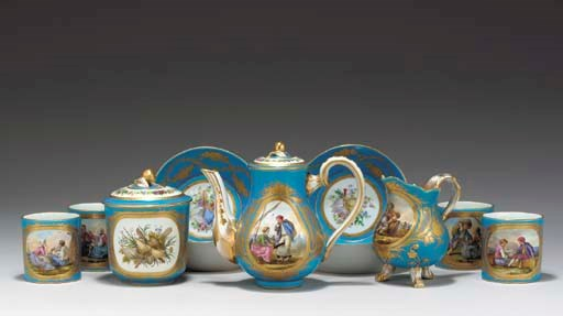 A SEVRES STYLE TURQUOISE-GROUN