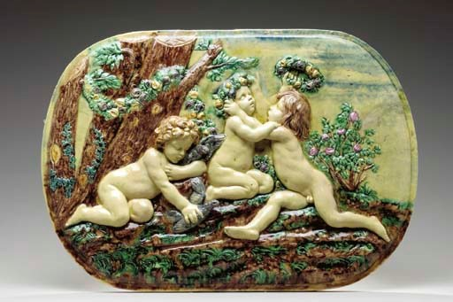 A FRENCH MAJOLICA OBLONG PLAQU