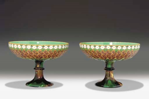TWO WEDGWOOD MAJOLICA FOOTED C