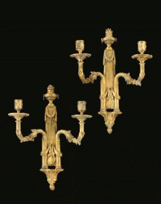 A PAIR OF FRENCH ORMOLU TWO-BR