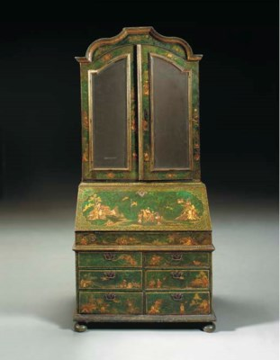 A GERMAN GREEN AND POLYCHROME-