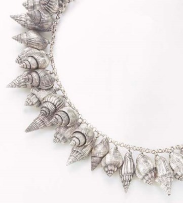 A SILVER-COATED SEASHELL NECKL