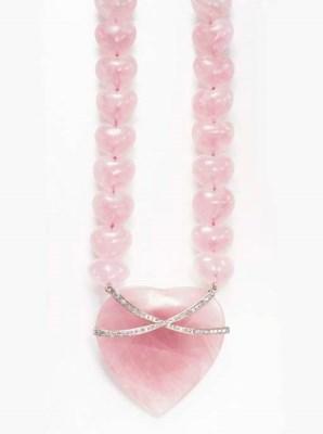 A ROSE QUARTZ AND DIAMOND NECK