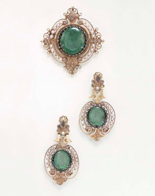 A SET OF ANTIQUE EMERALD AND D