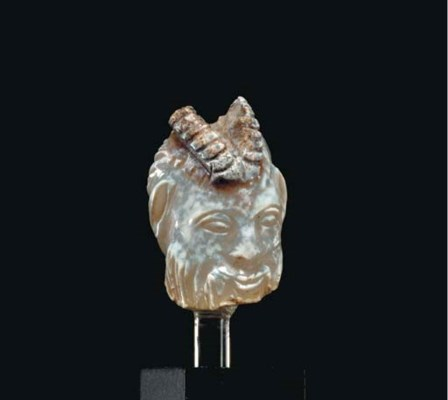 A ROMAN CHALCEDONY HEAD OF PAN