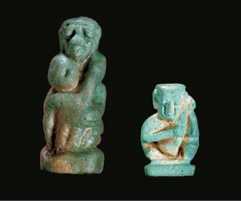TWO EGYPTIAN FAIENCE EROTICA