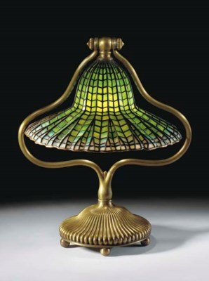 A 'LOTUS BELL' LEADED GLASS AN
