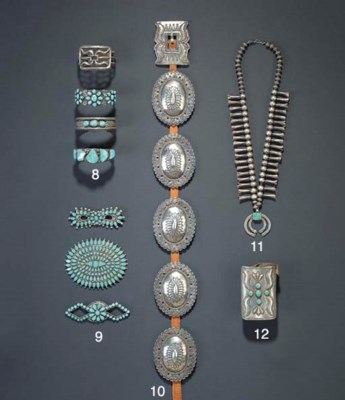 THREE ZUNI SILVER AND TURQUOIS