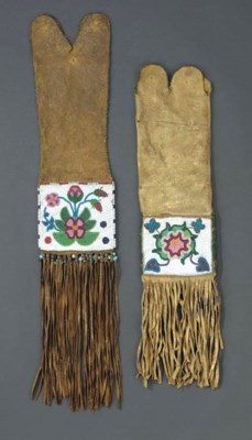 TWO CREE BEADED HIDE TOBACCO B