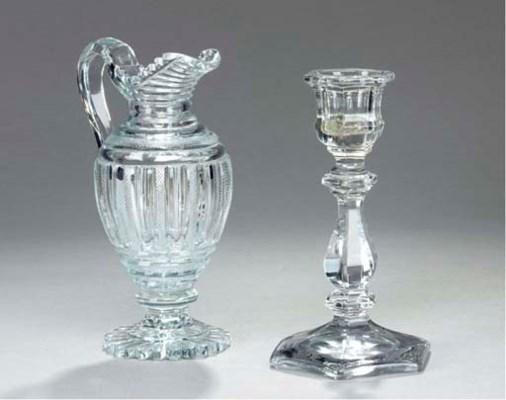 AN ANGLO-IRISH CUT GLASS EWER