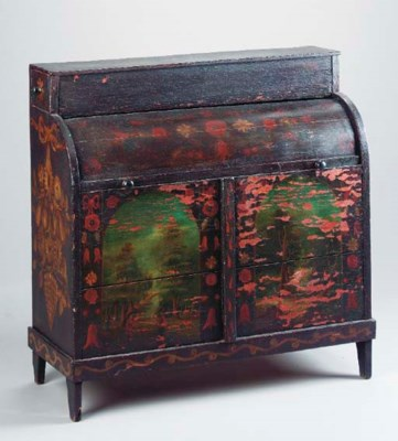 AN ENGLISH RUSTIC PAINTED OAK