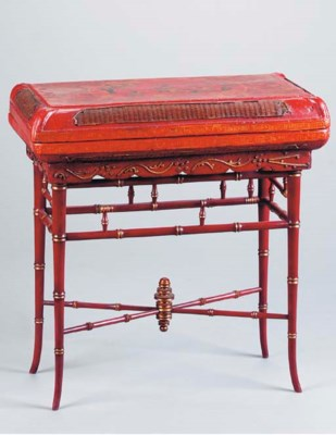 AN ASIAN RED LACQUERED AND PAR