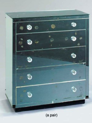 A PAIR OF MIRRORED CHESTS-OF-D