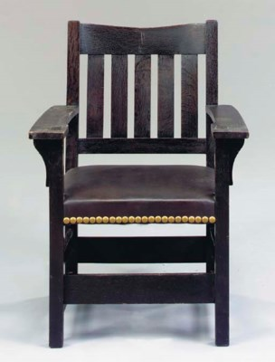 ARTS AND CRAFTS OAK ARMCHAIR,