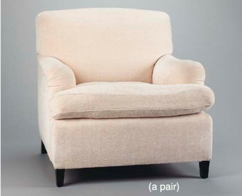 A PAIR OF CREAM UPHOLSTERED CL