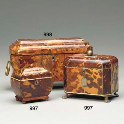 TWO REGENCY TORTOISESHELL AND