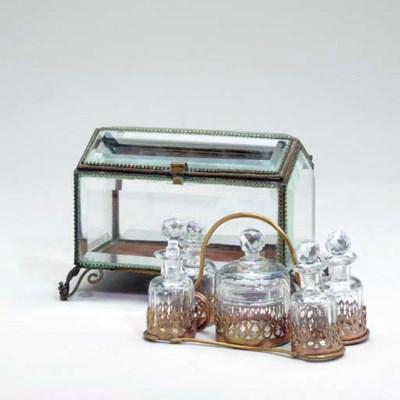 A BRONZE-MOUNTED GLASS PERFUME