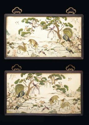 A PAIR OF FRAMED EMBROIDERIES,
