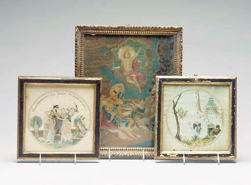 THREE ENGLISH SILKWORK PICTURE