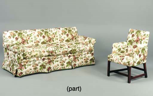 A SOFA AND TWO CLUB CHAIRS AND