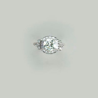 A DIAMOND AND 14K WHITE GOLD R
