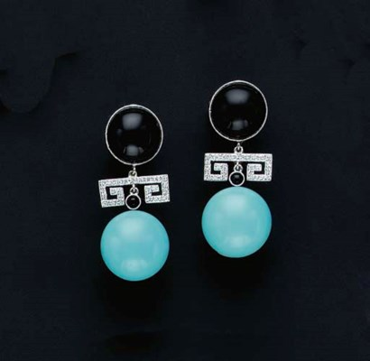 A PAIR OF ONYX, TURQUOISE, DIA