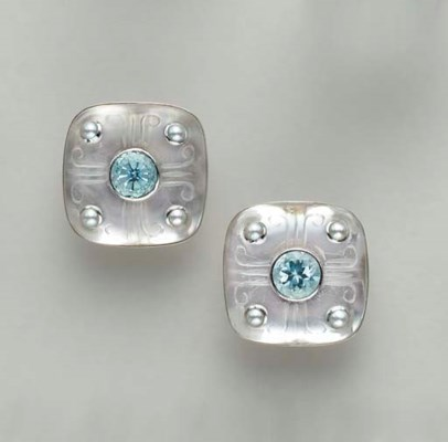 A PAIR OF MULTI-GEM AND 18K WH