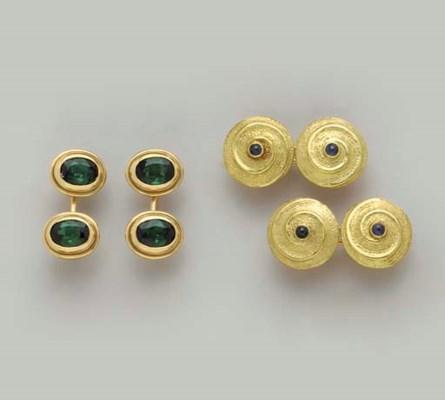 THREE PAIRS OF GOLD AND GEM-SE