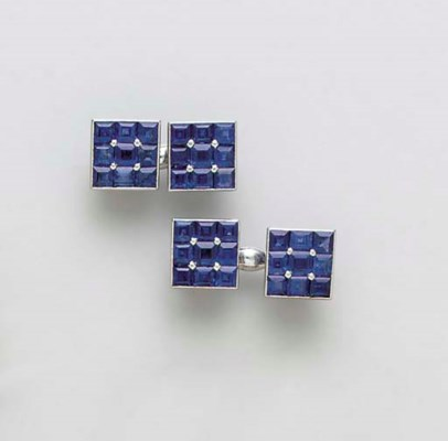 A PAIR OF SAPPHIRE AND PLATINU