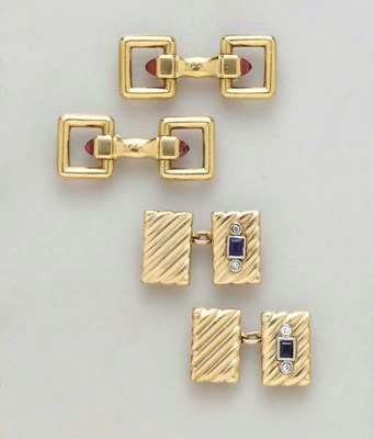 THREE PAIRS OF GOLD AND GEM-SE