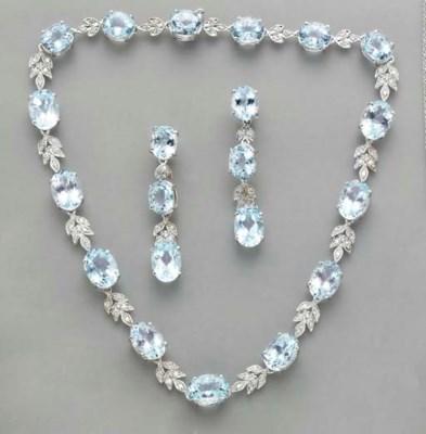 A SUITE OF AQUAMARINE, DIAMOND