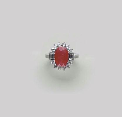 A RUBY, DIAMOND AND PLATINUM R