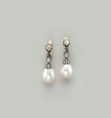 A PAIR OF NATURAL PEARL, DIAMO