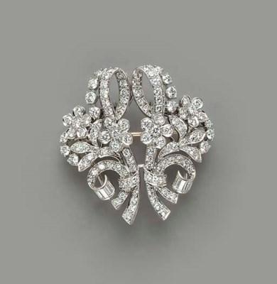 A DIAMOND, PALLADIUM AND GOLD