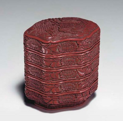 A SMALL CARVED RED LACQUER FOU