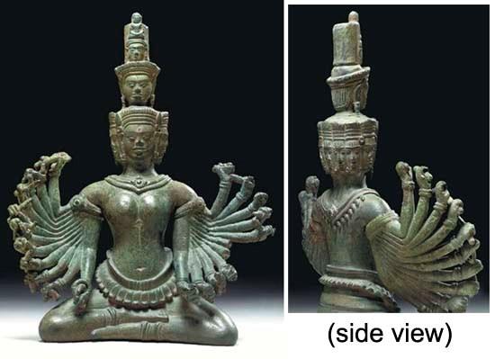 A Rare Bronze Figure of Prajna