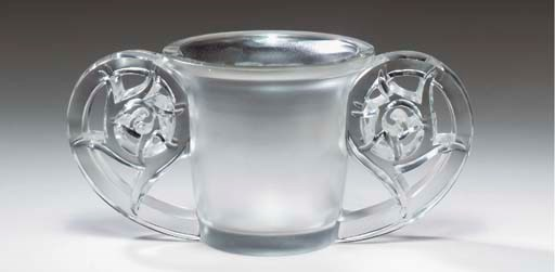 A LALIQUE CLEAR GLASS TWO-HAND