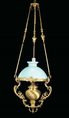 A FRENCH GILT METAL AND OPAGUE
